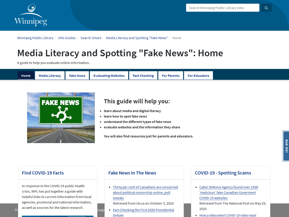 "screen shot and link to media literacy and spotting ""fake new' info guide"