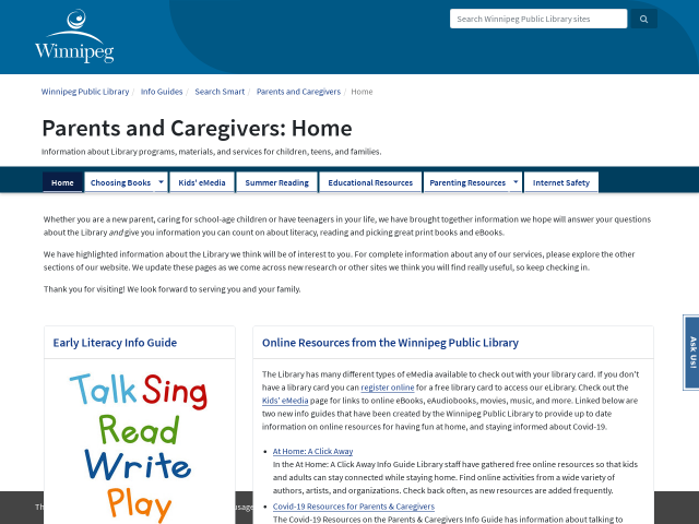 Screen shot of Parents and Caregivers Info Guide home page