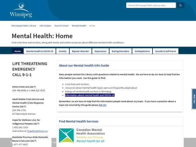 screen shot and link to mental health information guide